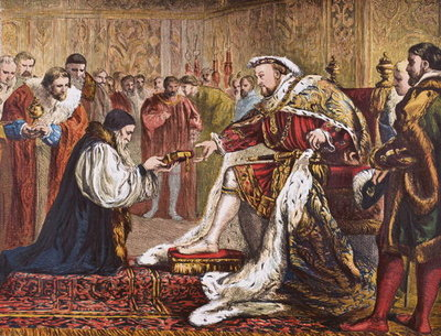 Hugh Latimer presenting the Bible to King Henry VIII, from 'Old England's Worthies' by Lord Brougham